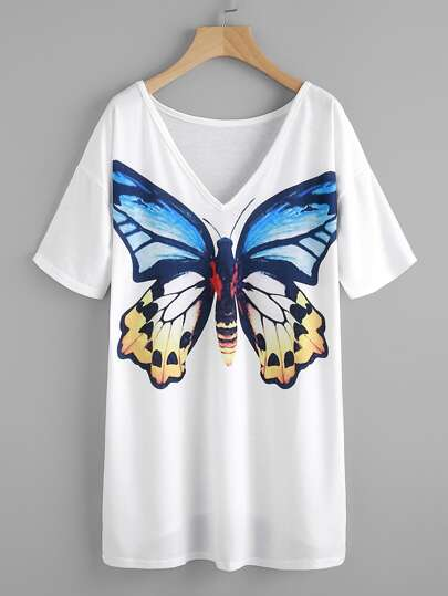 Drop Shoulder V Back Butterfly Print Tee Dress