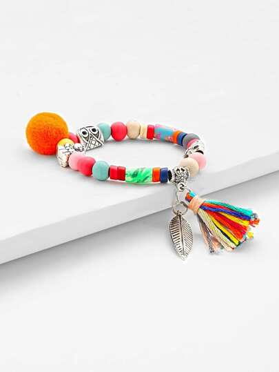 Tassel & Leaf Detail Beaded Bracelet