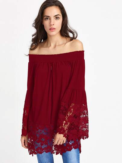Shirred Bardot Fluted Sleeve Crochet Panel Top