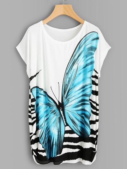 Dolman Sleeve Shirred Side Butterfly Print Tee