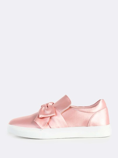 Faux Satin Bow Top Slip On Sneakers BLUSH