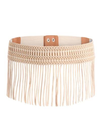 Cinturón tejido con flecos