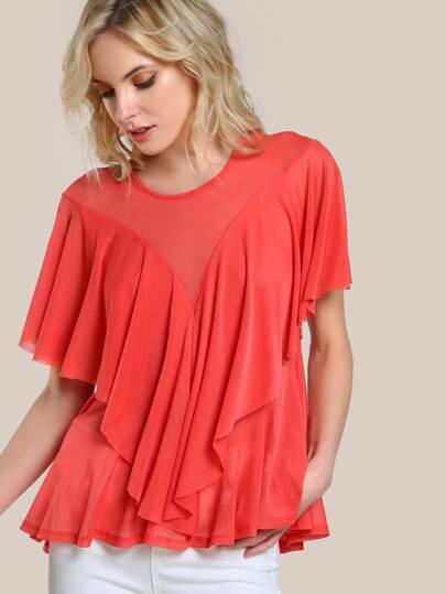 Bluse mit Netz und schößchem Saum