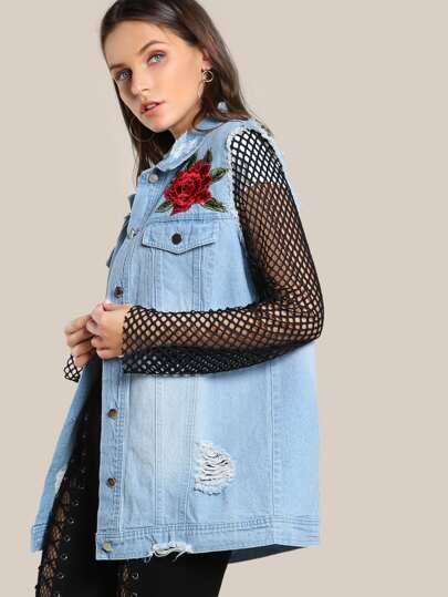 Embroidered Fishnet Sleeve Jacket LIGHT DENIM