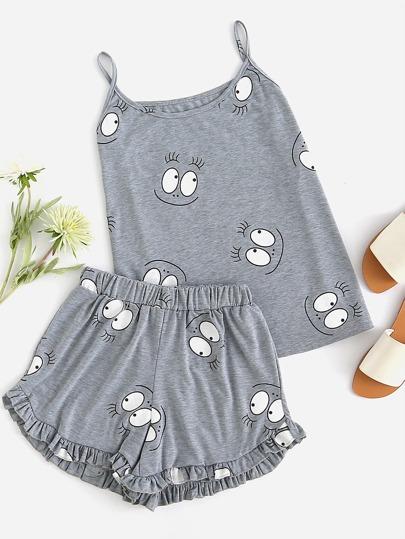 Cami Pajama Set mit Karikaturmuster und Falten