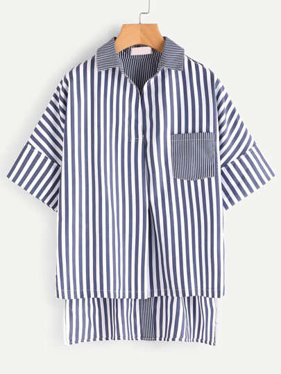 Contrast Vertical Striped Button Back High Low Shirt