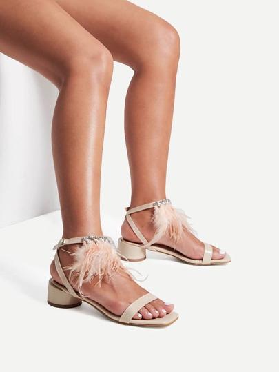 Sandales en PU détail de strass et cuir faux