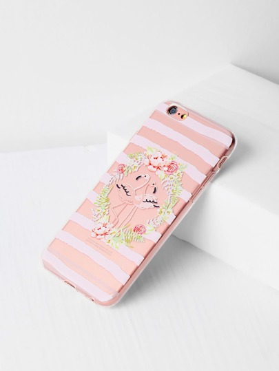 Flower And Bird Print Clear iPhone Case