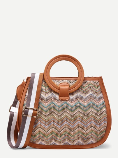 Chevron Woven Shoulder Bag With Ring Handle