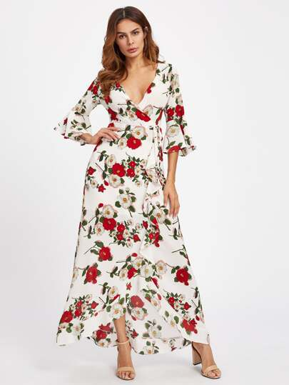 Fluted Sleeve Surplice Wrap Botanical Dress
