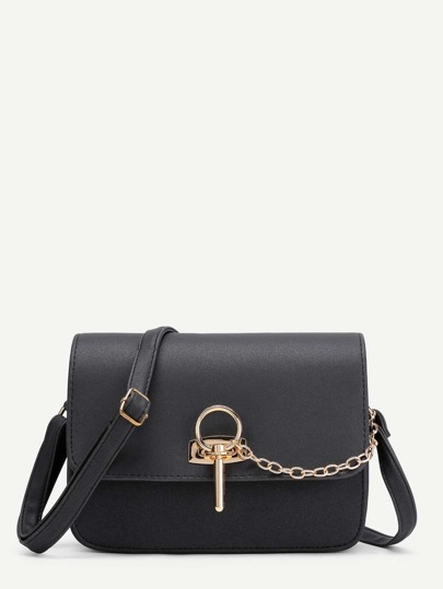 Chain Detail Flap Cross Body Bag