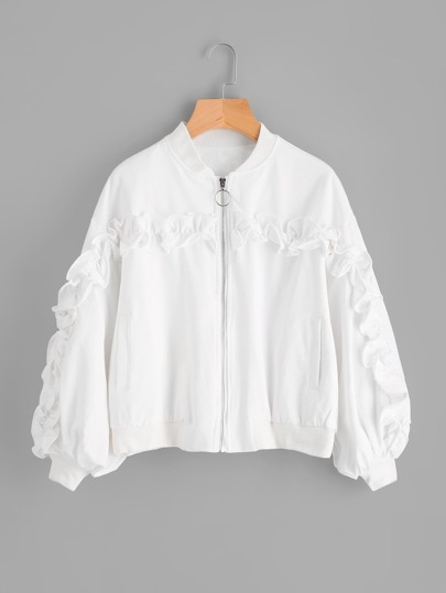 Shirred Ruffle Trim Jacket