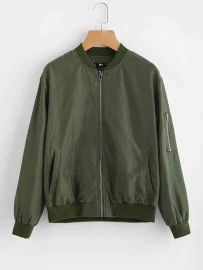 Ribbed Trim Bomber Jacket With Arm Pocket