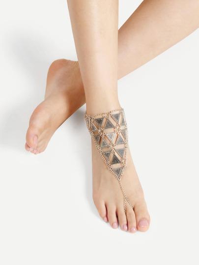 Tobillera con diseño de triángulo con anillo