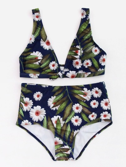 Calico Print High Waist Plunge Bikini Set