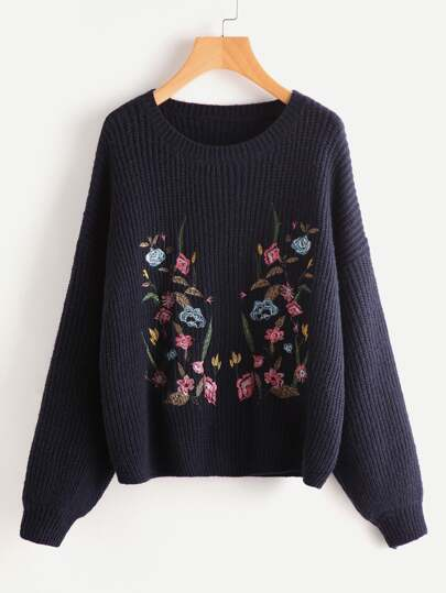 Botanical Embroidered Drop Shoulder Jumper