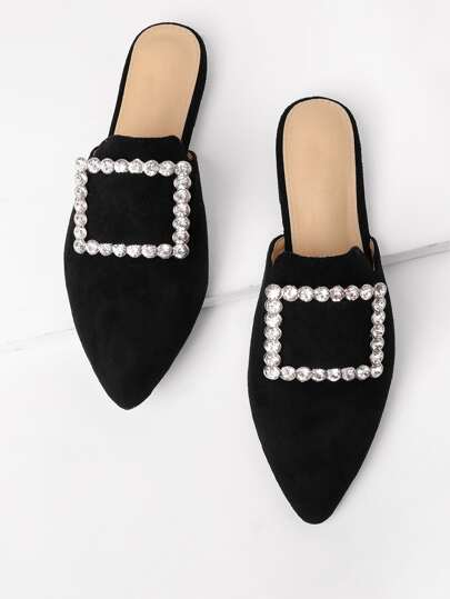 Rhinestone Decorated Pointed Toe Flats