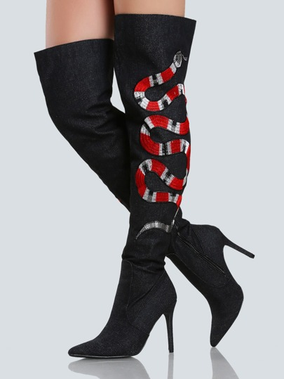 Snake Embroidered Denim Thigh High Heel BLACK