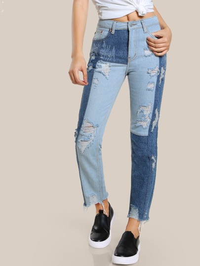Colorblock Distressed High Rise Pants DENIM