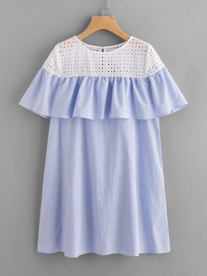 Contrast Eyelet Embroidered Yoke Flounce Trim Dress