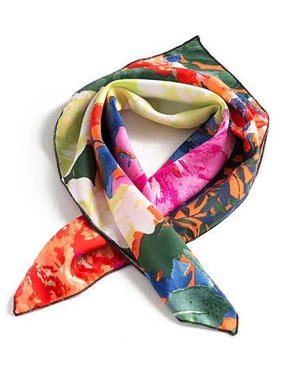 Floral Print Square Scarf