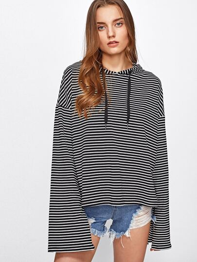 Drop Shoulder Fluted Sleeve Striped Hoodie