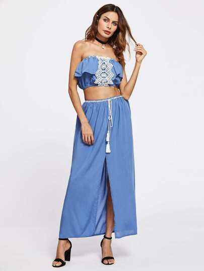 Contrast Lace Flounce Layered Bandeau Top With Split Skirt