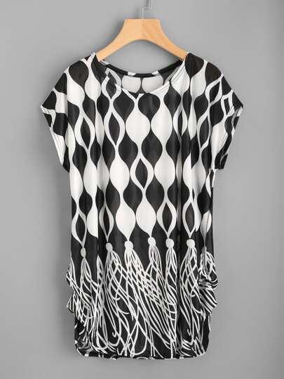 Dolman Sleeve Shirred Side Abstract Print Tee