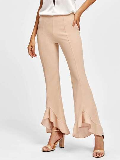 Pantaloni con bordi a fronzolo