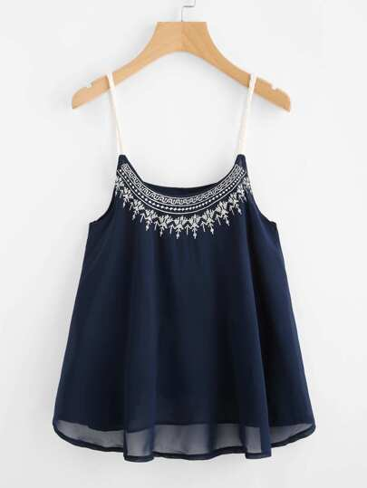 Contrast Braided Strap Embroidered Cami Top