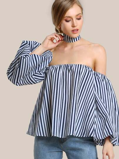 Striped Puffer Bardot Sleeve Top NAVY