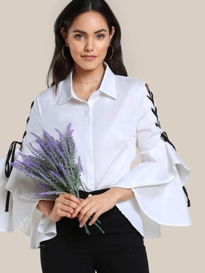 Lace Up Trumpet Sleeve Button Up Top WHITE