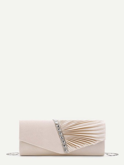 Rhinestone Detail Folded Fan Shaped Clutch