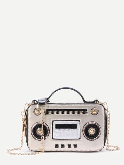 Radio Design PU Chain Cross Body Bag