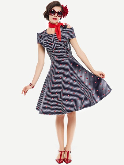 Frill Layered Lip Print Striped Circle Dress