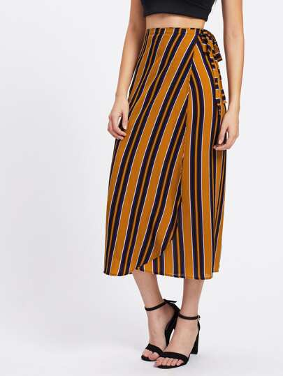 Vertical Striped Tie Detail Wrap Skirt