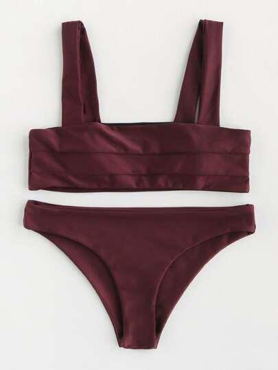Conjunto de bikini con doble tirante amplio con detalle de costura