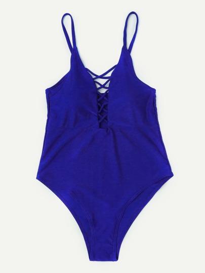 Criss Cross Plunge Neckline Swimsuit