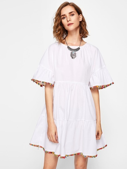 Colorful Trim Trumpet Sleeve Tiered Dress