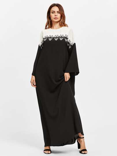 Lace Applique Two Tone Kaftan Dress