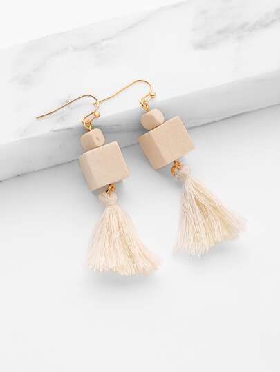 Tassel Design Drop Earrings With Cube Wood