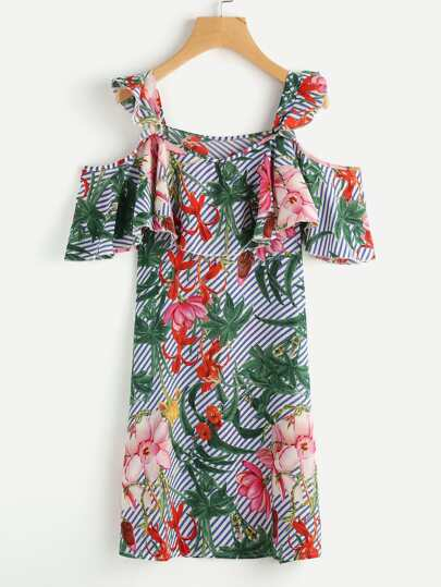 Random Jungle Print Flounce Layered Striped Dress