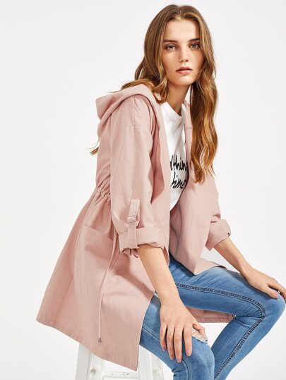 Drawstring Waist Roll-Up Sleeve Hooded Coat