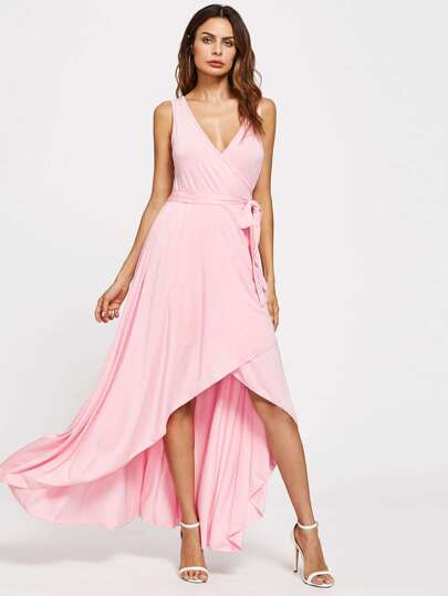 Tie Waist High Low Surplice Dress