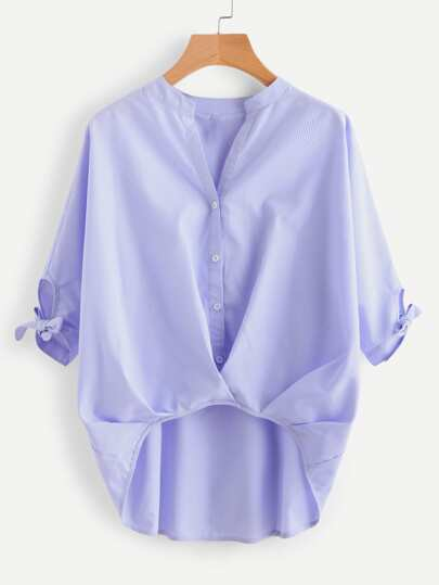 Cutout Tie Sleeve Pleated Stepped Hem Blouse