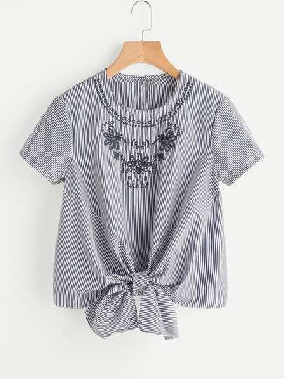 Vertical Striped Embroidery Knotted Hem Top