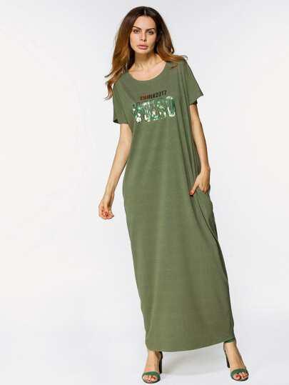 Letter Print Full Length Dress