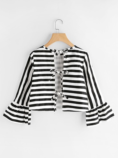 Contrast Striped Flute Sleeve Tie Back Blouse