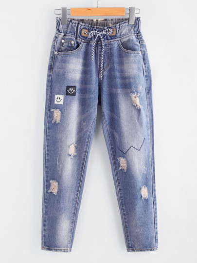 Patch Detail Distressed Denim Pants