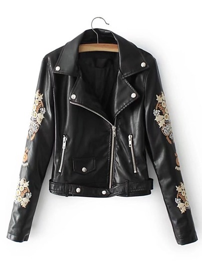 Faux Leather Embroidery Belt Moto Jacket